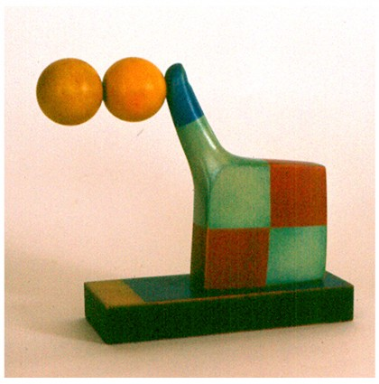 &#8220;Two Balls&#8221;<br />Polychrome wood
