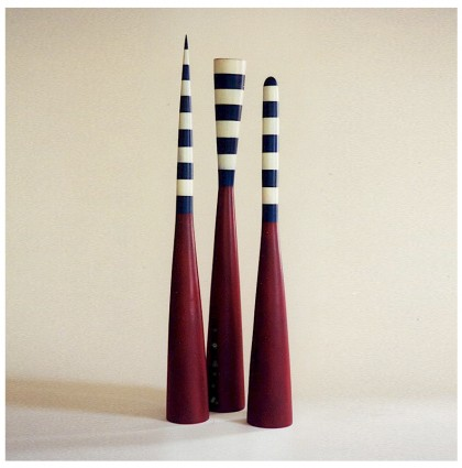 &#8220;Three Colored Mallets&#8221;<br />2003<br />Polychrome Wood