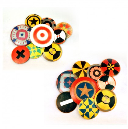 &#8220;Assorted Wood Discs&#8221;<br />2009<br />Polychrome Wood