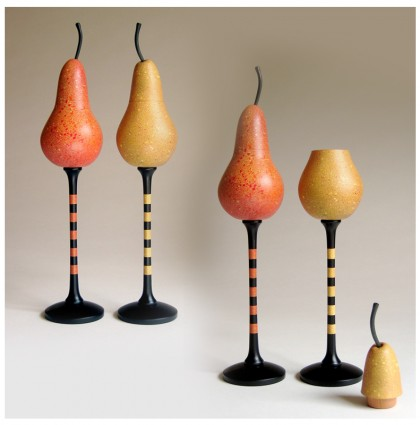 &#8220;Two Pear Goblets&#8221;<br />2007<br />Polychrome