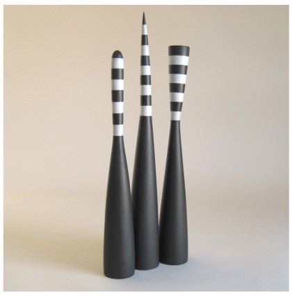 &#8220;Three Black &#038; White Mallets&#8221;<br />2003<br />Polychrome Wood