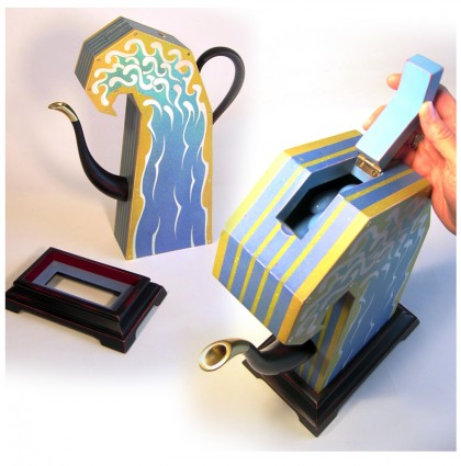 &#8220;Teanami/Boxed Wave Teapot&#8221;<br />2005<br />Polychrome Wood