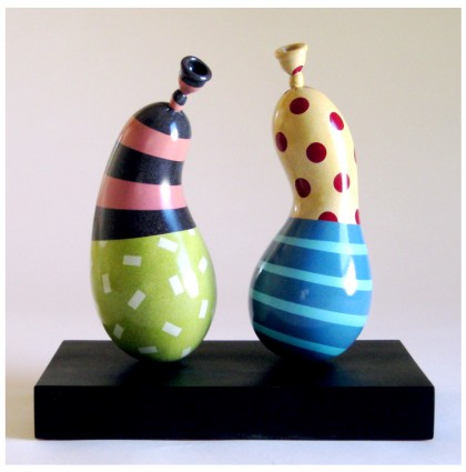 &#8220;Two Colorful Upright Balloons&#8221;<br />2008<br />Polychrome Wood