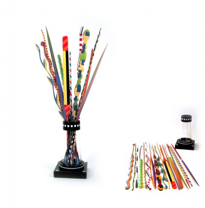 &#8220;Vase of Colorful Sticks&#8221;<br />2007<br />Polychrome Wood