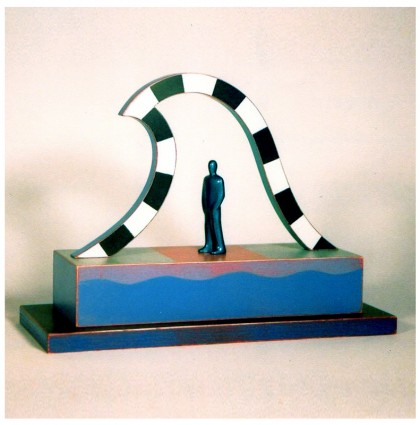 &#8220;Man in a Wave&#8221;<br />2002<br />Polychrome Wood
